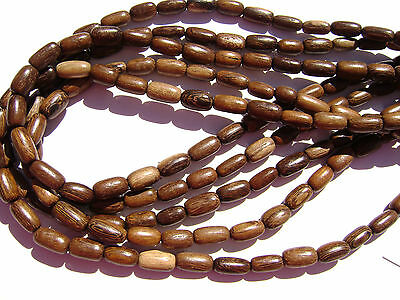 """CL-127 Wood Bead Robles Handmade Brown Wax Polished Rise Barrel, 10mm 16"""" strand"""