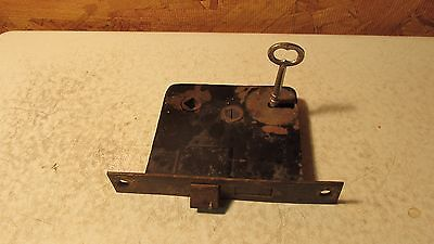 Antique Cast Iron Mortise Lock & Key  No. 1