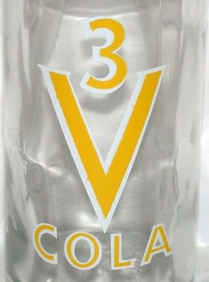 Vintage soda pop bottle 3V COLA Full Pint size unused and new old stock n-mint+