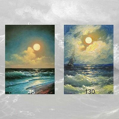 LOT #1 of 2 ACEO  ART PRINTS SEASCAPE ARCHIVAL Gift Nightscape Moon Shore Surf