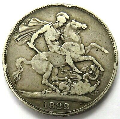 1822 King George IV Silver Crown Coin - Tertio - Good Detail - Great Britain