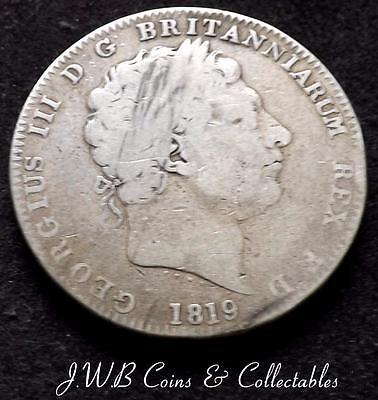 1819 King George III Silver Crown Coin - LIX - Great Britain