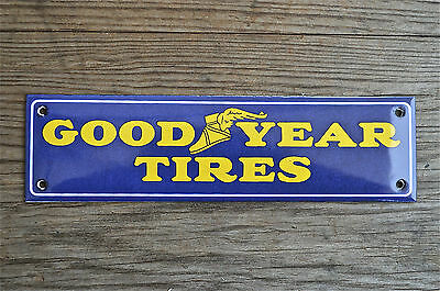 Quality Enamel Goodyear Tires Sign Oblong Plaque Vintage Style Garage Wall