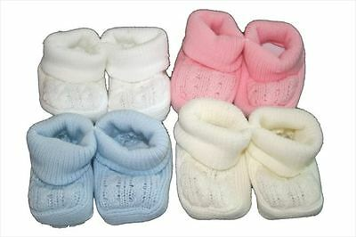 New cable knit booties - newborn baby girl/boy