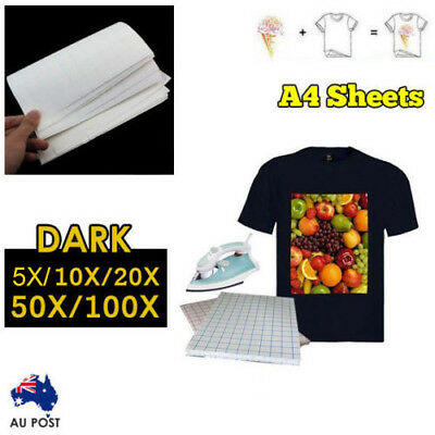 5/10/20/50/100 sheets A4 Iron Heat Transfer Paper For The Dark Cotton T-shirt AU