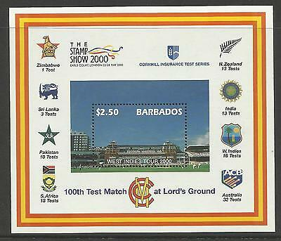 BARBADOS 2000 LORD'S CRICKET 100th CENTENARY TEST MATCH Souv Sheet MNH