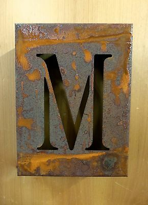 "8"" RUSTY RUSTED INDUSTRIAL METAL BLOCK CUT SIGN LETTER M vintage marquee wall"