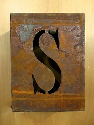 "8"" RUSTY RUSTED INDUSTRIAL METAL BLOCK CUT SIGN LETTER S vintage marquee wall"