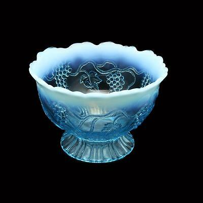 Jefferson Glass #245 Northwood Grape & Vine Blue Opalescent Footed Bowl