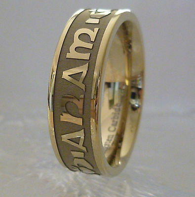 18ct Gold Celtic Mo Anam Cara MY SOUL MATE Tungsten Wedding Ring TR17-OX