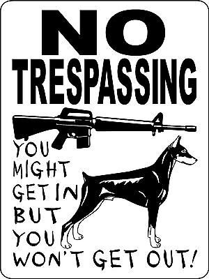 DOBERMAN PINSCHER  DOG SIGN GUARD  VINYL  Decal WARNING  NO TRESPASSING  3388