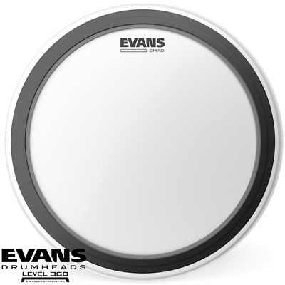 Evans Emad Clear 22 Inch Bass drum head skin batter with patch