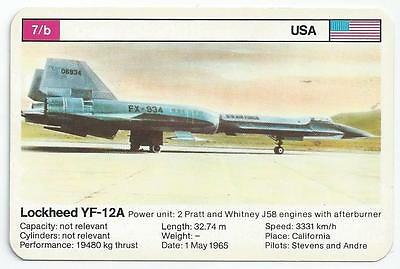 Top Trumps - World Record Holders - Card 7B - Lockheed Yf-12A (Amqc)