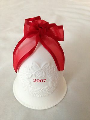 """White 2007 Bisque 3 1/2"""" Bell Ornament with Red Ribbon"""
