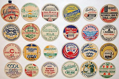 Vintage milk bottle caps LOT OF 24 DIFFERENT originals #21 unused new old stock