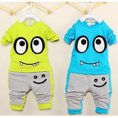 2pcs Kids Baby Kids Boys Girls Outfit Long Sleeve T-shirt Top+Pants Clothes Set