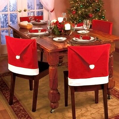 Christmas Santa Hat Dining Chair Back Covers Party Xmas Table Decoration