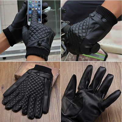Men Outdoor Touch Screen Motorcycle Driving Warm Winter Full PU Leather Gloves