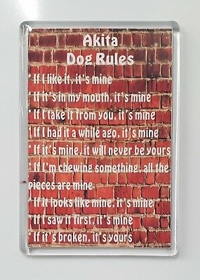 Akita Rules - It's Mine!' Dog Novelty Fridge Magnet - Ideal Present/Gift