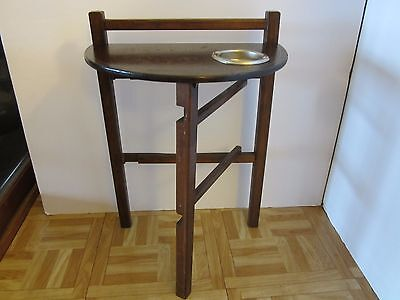 Antique Wood Folding Side Table Smoking Stand Ashtray 1930 40S Original Usa  Vtg