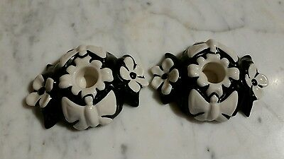 Vintage Pair Fulper Black & White Butterfly Candlestick Holders
