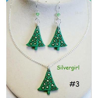 Sparkly Rhinestone Christmas Tree Necklace and Earring Set