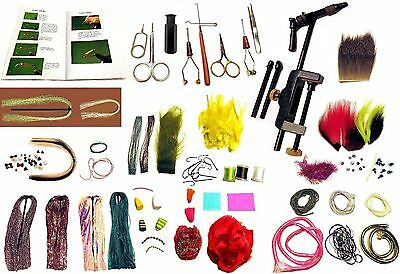 SALTWATER FLY TYING KIT - Book, Tools & Materials, 100 Items.