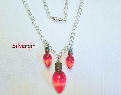 Red Christmas Light Crystal Necklace and Earrings Set
