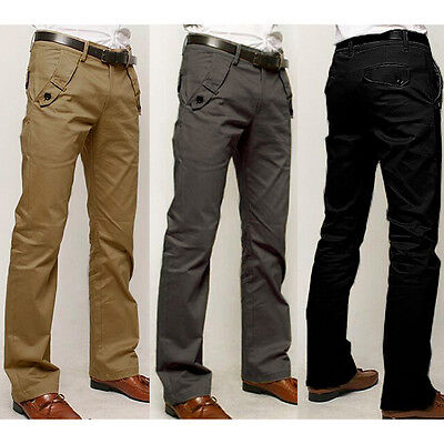 2016 Mens Straight Leg Slim Fit Trousers Casual Long Chino BUSINESS FORMAL Pants