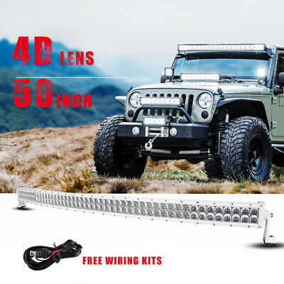 """4D 50"""" 672W CREE Curved Led Light Bar Spot Flood Combo Driving Offroad Truck 52"""""""
