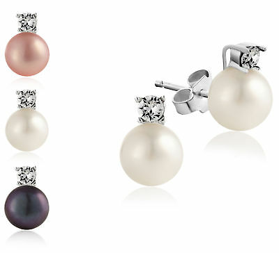 Pearl Stud Earrings with Swarovski® Crystals 18K White Gold