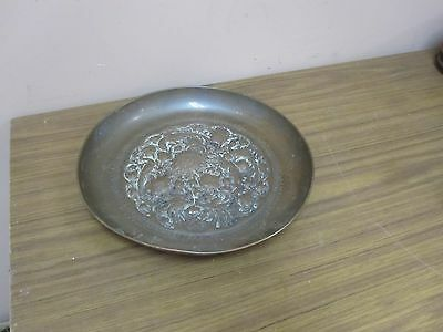 """Vintage Hand Hammered Etched Embossed Persian Islamic Copper Plate 10.5"""" Tray"""