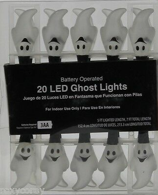 Halloween 20 LED Ghost String Light Black Wire Battery Operated NIB