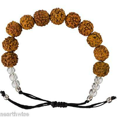 1 x RUDRAKSHA SEED 12 mm BEADS BRACELET Wicca Witch Reiki Pagan YOGA