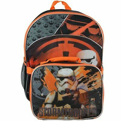 "Star Wars 16"" Storm Trooper Backpack with Lunch Box Bag Kit"