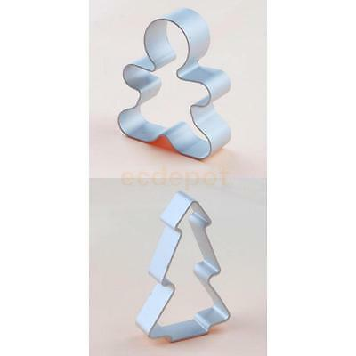 2 X Silver Gingerbread Dough Biscuit Cake Chocolate Sugarcraft Cookie Cutter