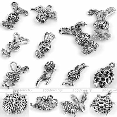 Cute Tibetan Silver Hollowed Alloy Animal Pendant Charms Beads Fit Necklace DIY