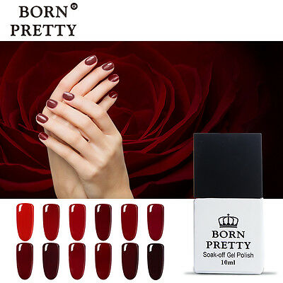 10ml Born Pretty Soak Off UV Gel Polish LED Lamp Manicure DIY Varnish-Red Series