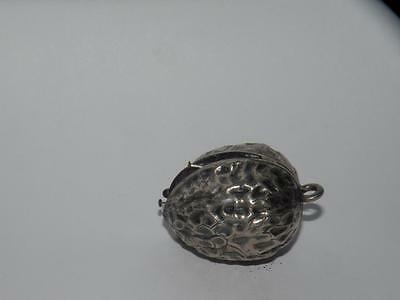 Antique Sterling Figural  Silver Walnut Pin Cushion Chatelaine Tool