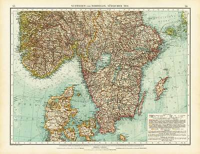 Antique Map-SCANDINAVIA-SWEDEN-NORWAY-SOUTHERN PART-Andree-1904