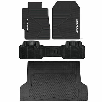 Honda Civic Front Rubber Mats Black All Weather Runner L Cargo Trunk Universal