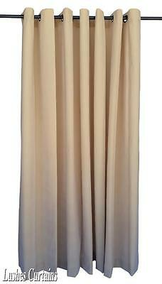 "Beige 120""H Velvet Curtain Panel w/Anneau Grommet Top Eyelets Window"