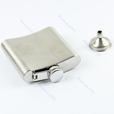Stainless Steel 6oz Whiskey Liquor Alcohol Party Drink Pocket Hip Flask Funnel