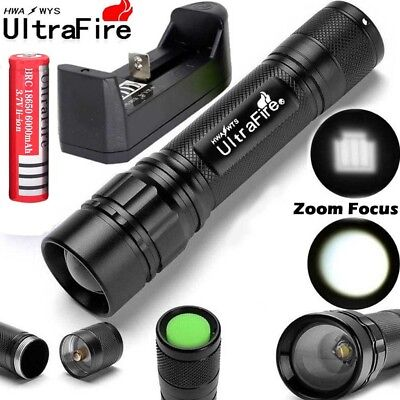 Tactical 20000LM 3 Modes XML T6 LED Focus Torch Flashlight+18650 Battery+Charger