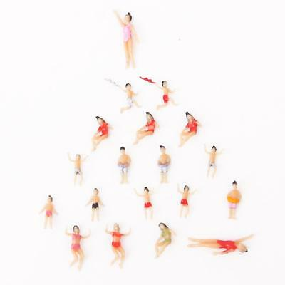 20Pcs Painted Model Train swimming People Figures Scale HO 1:100 Beach Theme NEW