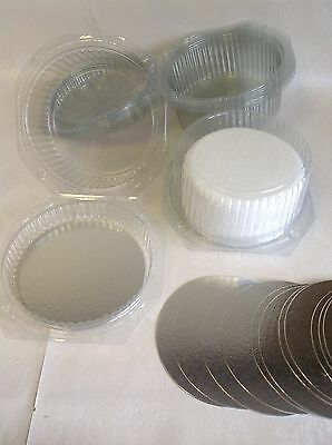 5 x CLEAR DISPOSABLE CAKE DOMES boxes packaging PLUS 5x 6 inch silver cake cards