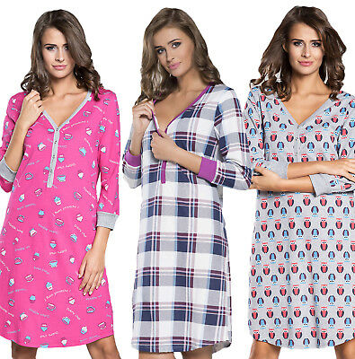 Mija Nursing breastfeeding 100% cotton nightdress nightshirt nighty pyjamas 7017
