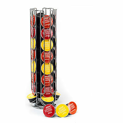 Revolving Rotating 32 Capsule Coffee Pod Holder Tower Stand Rack for Dolce Gusto