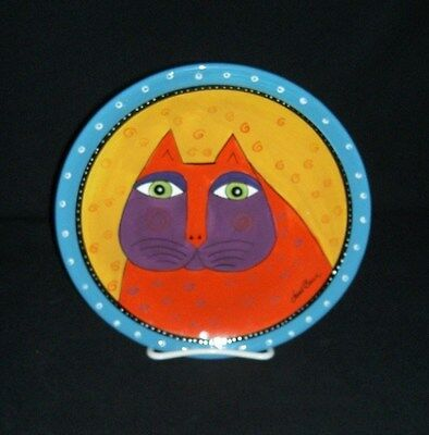 GANZ LAUREL BURCH Cat Plate Blue/Orange/Purple/Red 8 3/8""