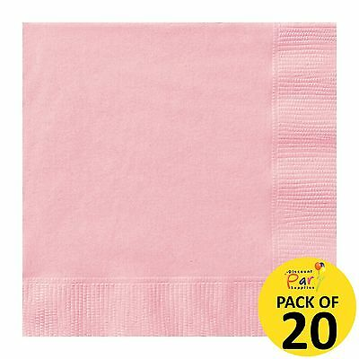 Light Pink Pack Of 20 Small Beverage Paper Napkins Serviettes Party Supplies